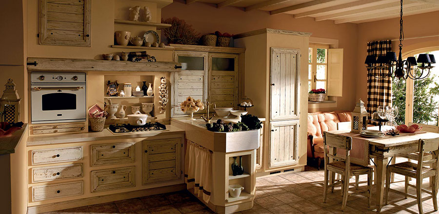 20 cucine in muratura in stile country for Idee strane