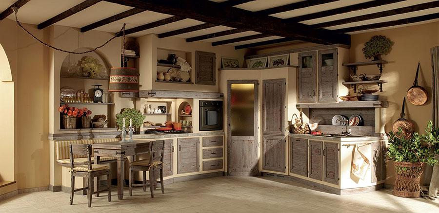 Modello di cucina in muratura in stile country n.12