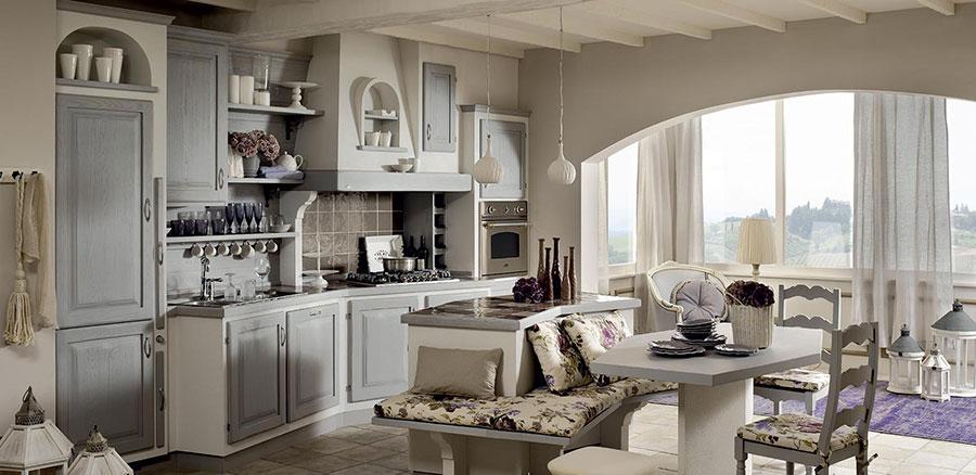 Modello di cucina in muratura in stile country n.16