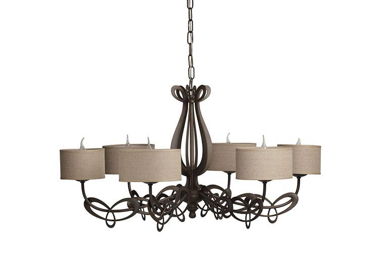 Modello di lampadario in ferro battuto da soffitto n.01