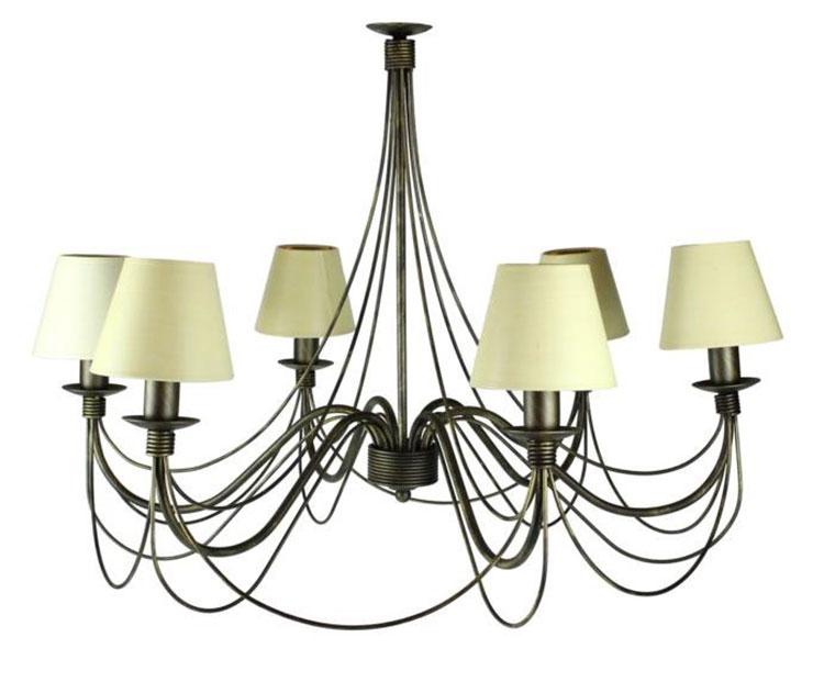 Modello di lampadario in ferro battuto da soffitto n.05