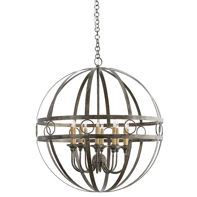 Modello di lampadario in ferro battuto da soffitto n.08