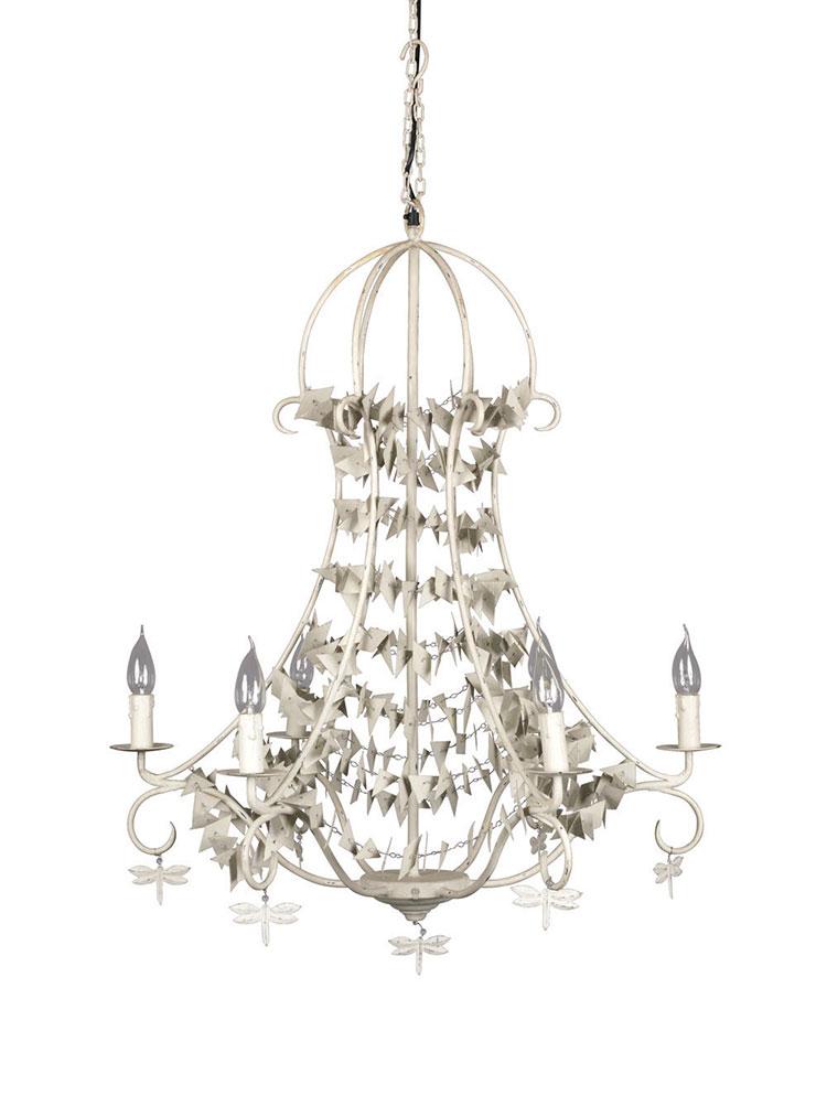 Modello di lampadario in ferro battuto da soffitto n.12