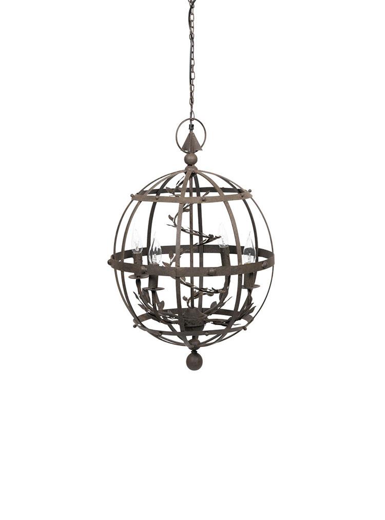 Modello di lampadario in ferro battuto da soffitto n.14