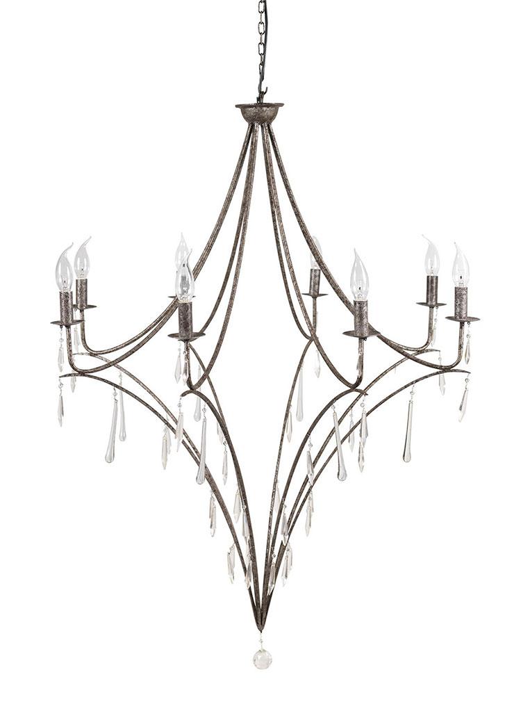 Modello di lampadario in ferro battuto da soffitto n.15