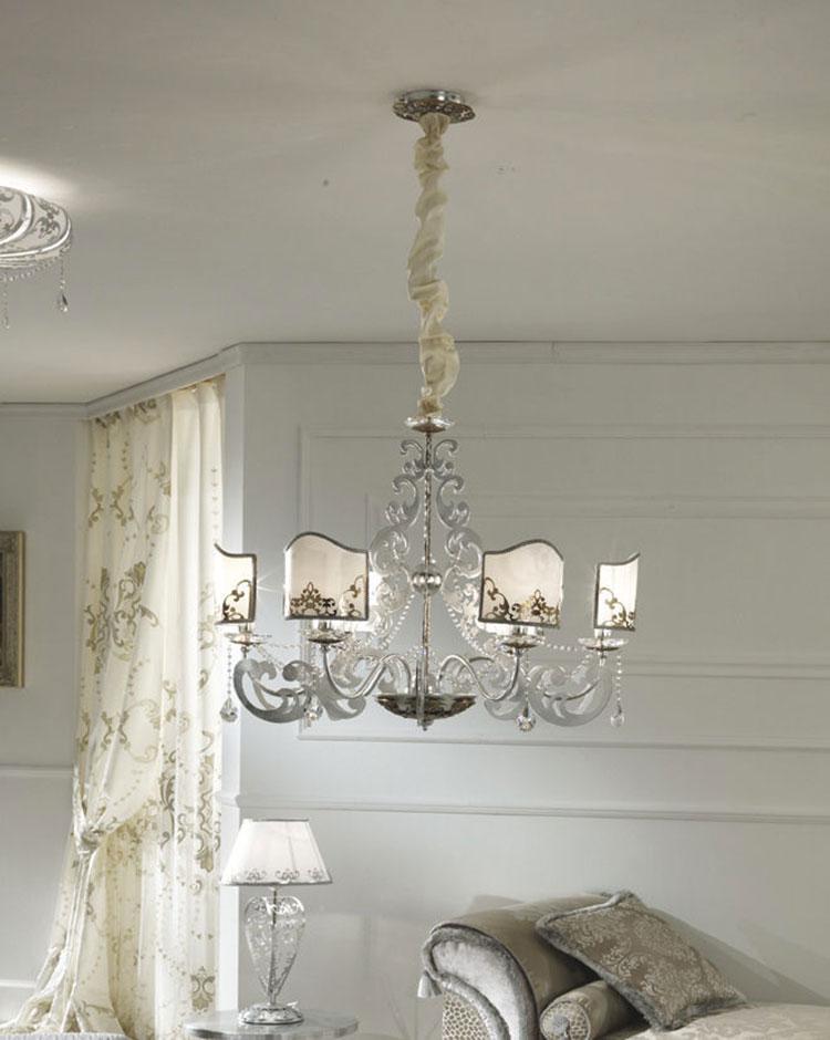 Modello di lampadario in ferro battuto da soffitto n.17