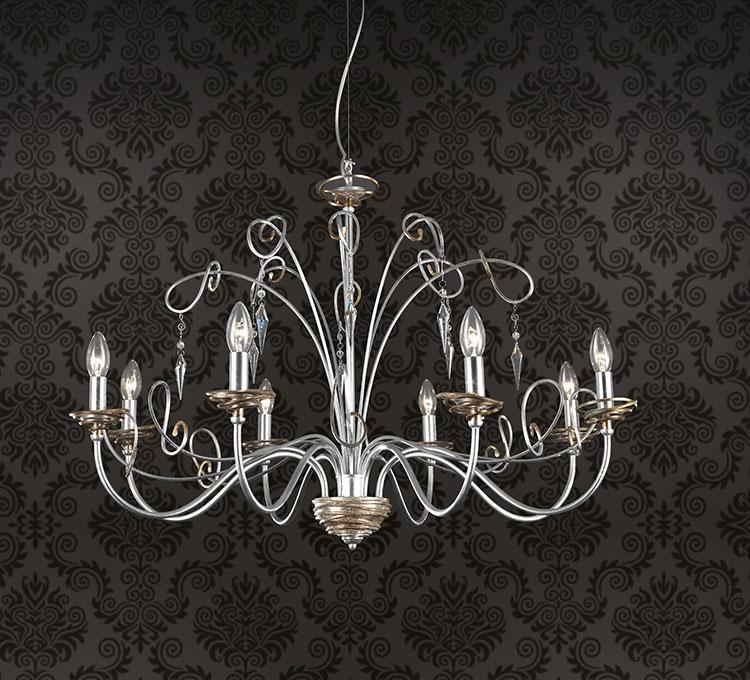 Modello di lampadario in ferro battuto da soffitto n.18