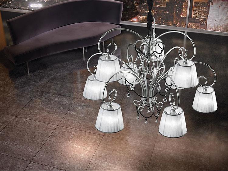 Modello di lampadario in ferro battuto da soffitto n.28