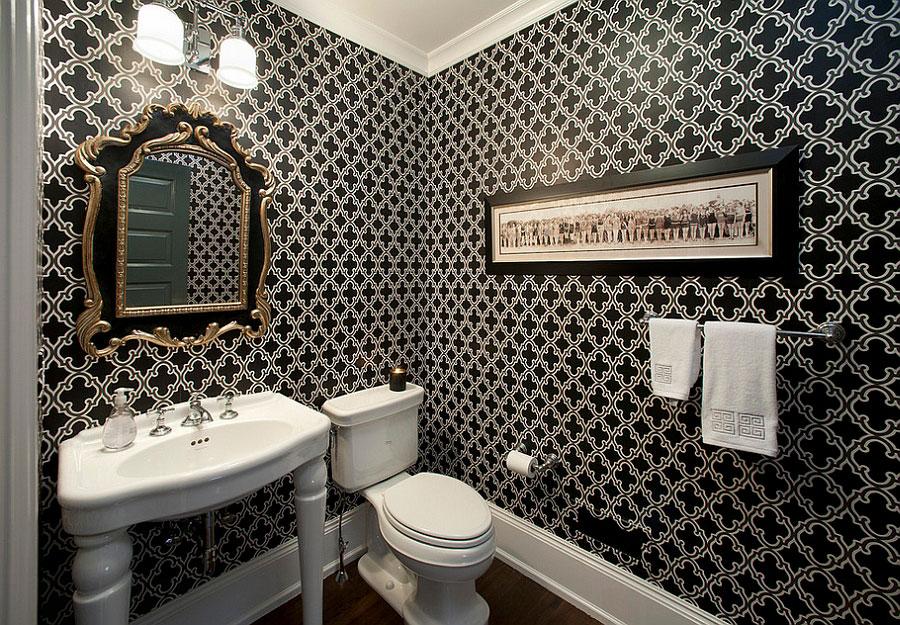 Idee di arredo per un bagno bianco e nero n.01