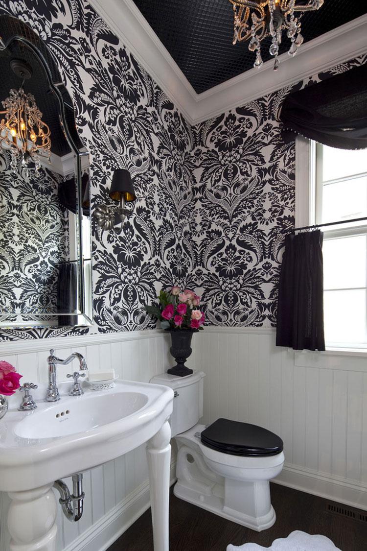 Idee di arredo per un bagno bianco e nero n.02