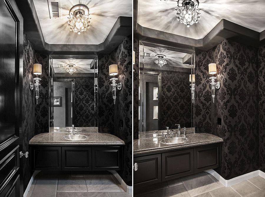 Idee di arredo per un bagno bianco e nero n.03