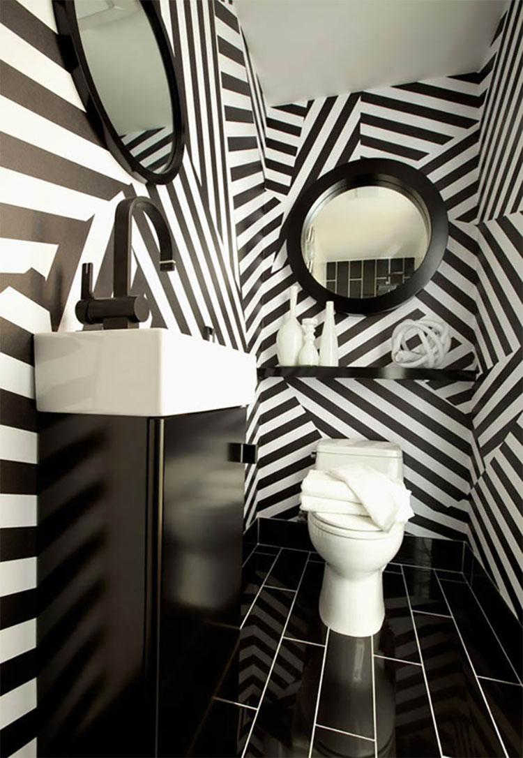 Idee di arredo per un bagno bianco e nero n.08