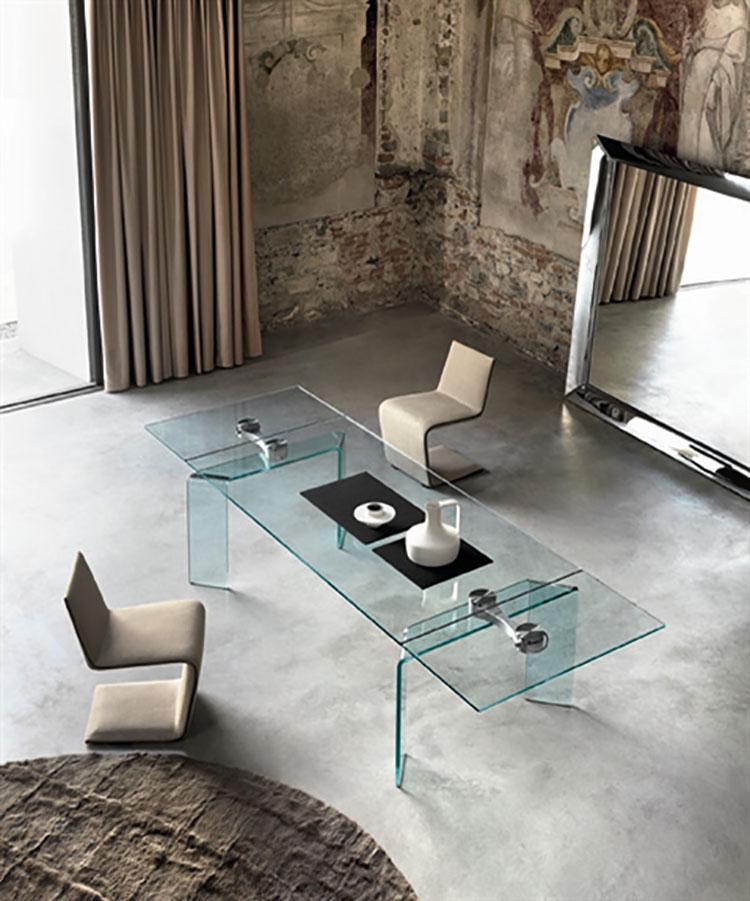 Modello di tavolo in vetro allungabile dal design moderno n.03