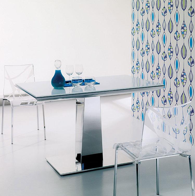 Modello di tavolo in vetro allungabile dal design moderno n.05