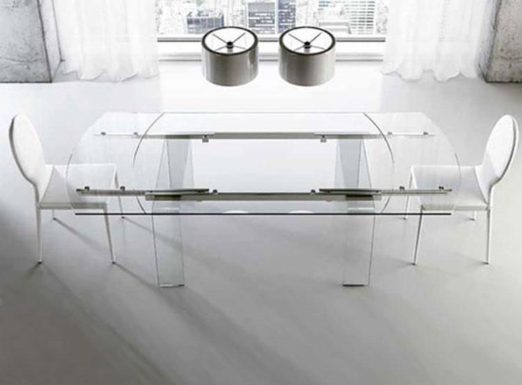 Modello di tavolo in vetro allungabile dal design moderno n.07