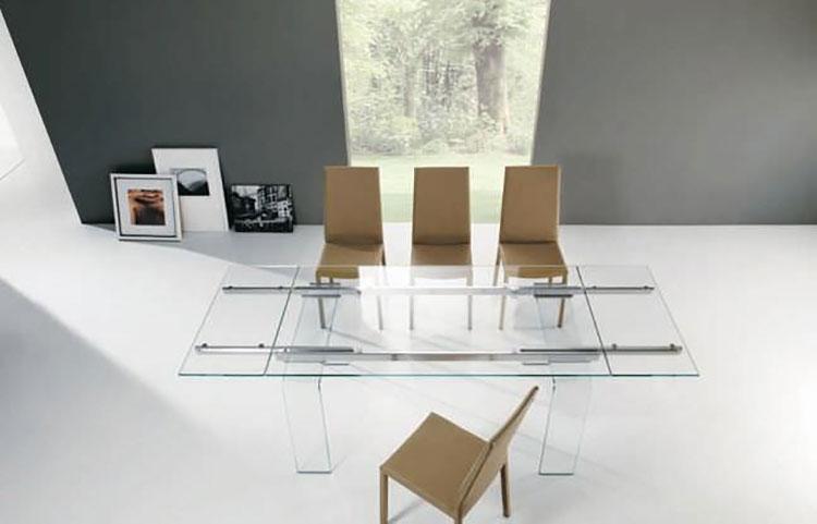 Modello di tavolo in vetro allungabile dal design moderno n.09