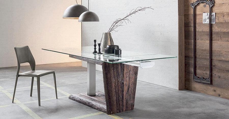 Modello di tavolo in vetro allungabile dal design moderno n.18