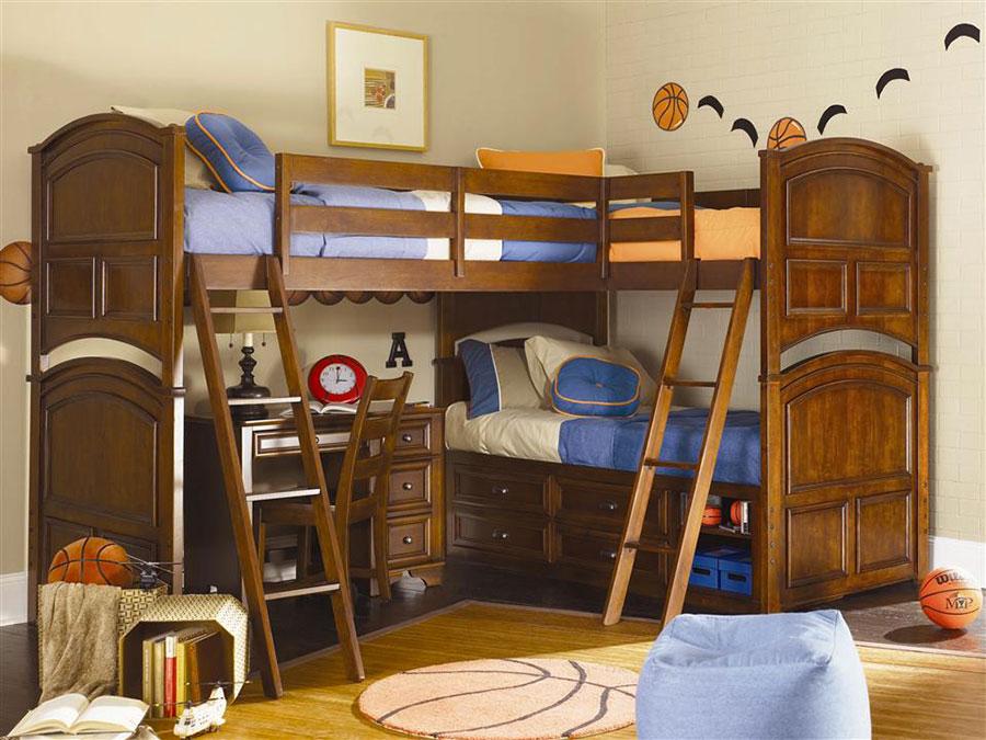 Idee di arredo per camerette dei bambini con tre letti n.03
