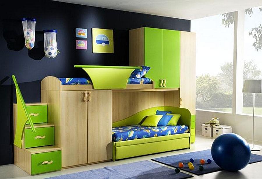 Idee di arredo per camerette dei bambini con tre letti n.08