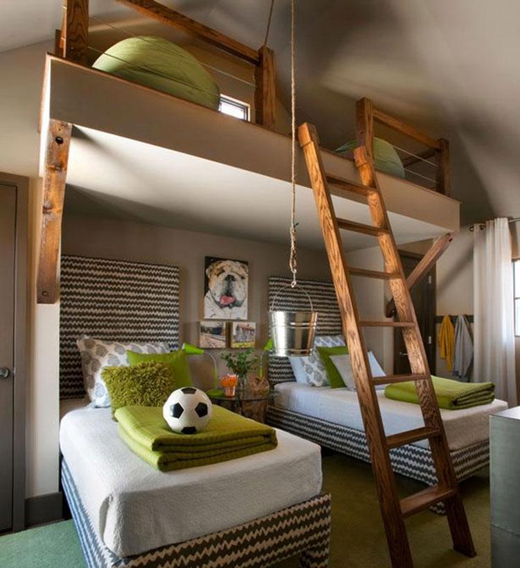 Idee di arredo per camerette dei bambini con tre letti n.16