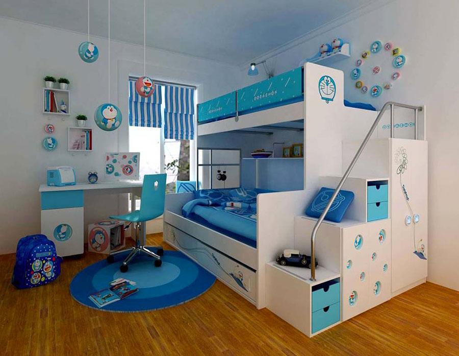 Idee di arredo per camerette dei bambini con tre letti n.18