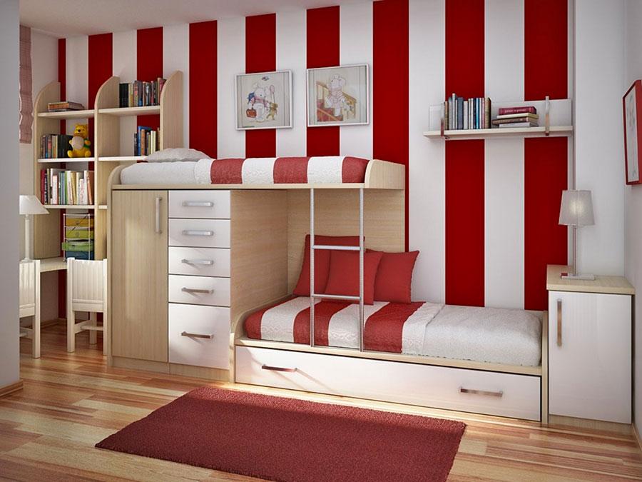Idee di arredo per camerette dei bambini con tre letti n.20