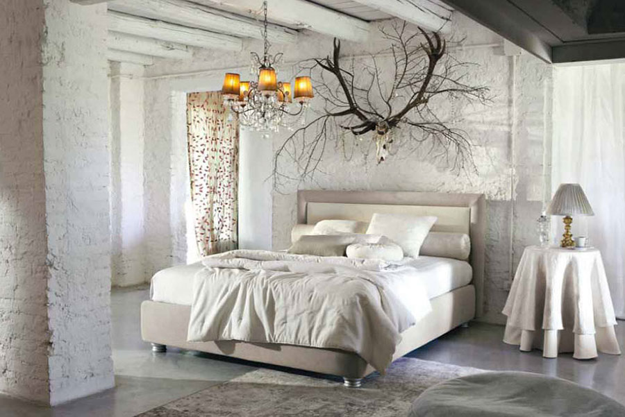 Letto shabby chic in tessuto n.08