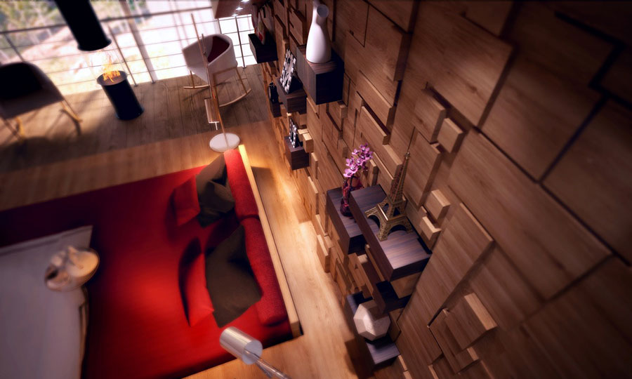 Modello di rivestimento da parete per camera da letto n.25