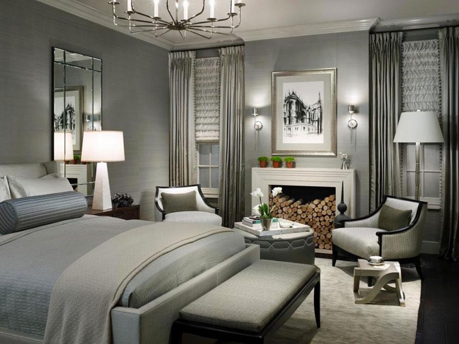 Camera da letto con pareti grigie n.3