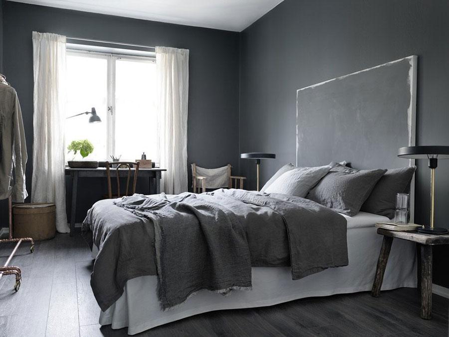 Camera da letto con pareti grigie n.4