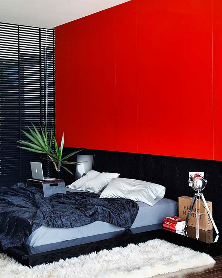 Camera da letto con pareti rosse n.3