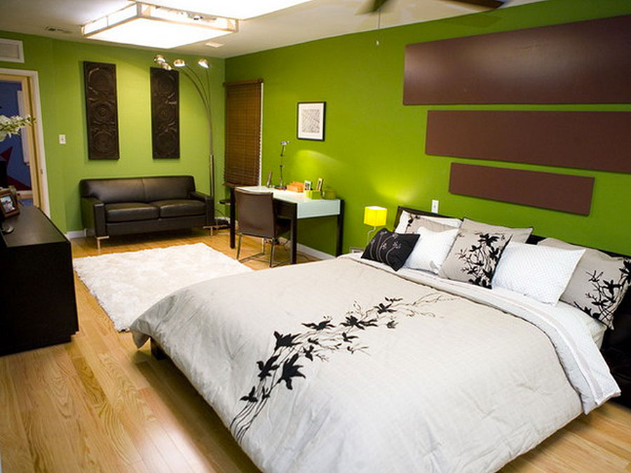Camera da letto con pareti verdi n.2