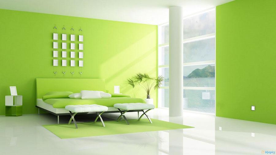 Camera da letto con pareti verdi n.3