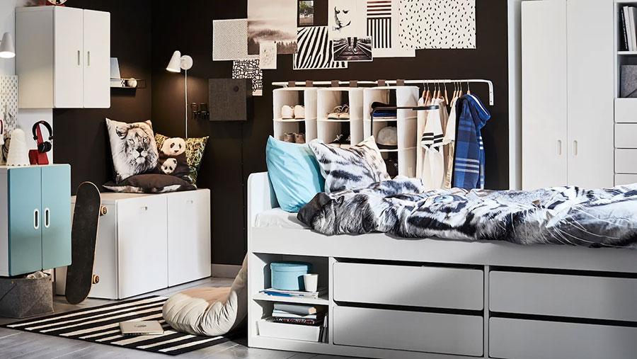 Modello di cameretta moderna per ragazze Ikea n.01