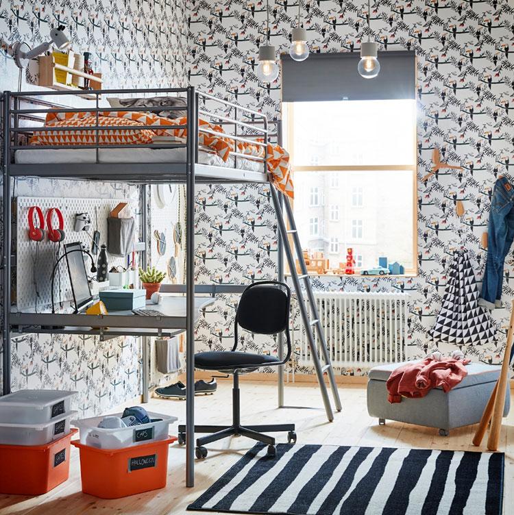 Modello di cameretta moderna per ragazze Ikea n.02