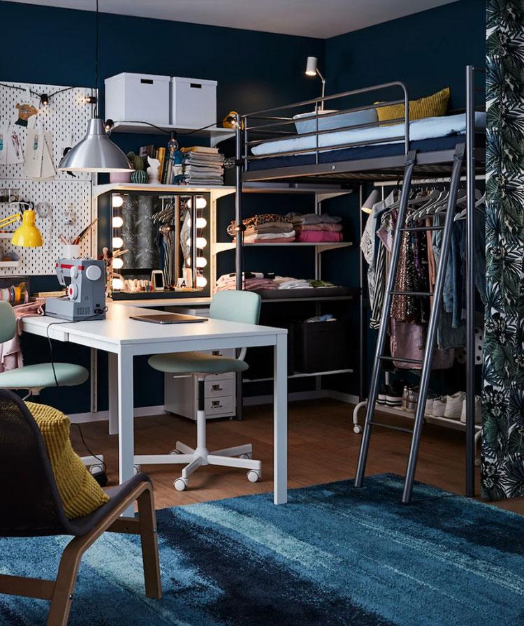 Modello di cameretta moderna per ragazze Ikea n.03