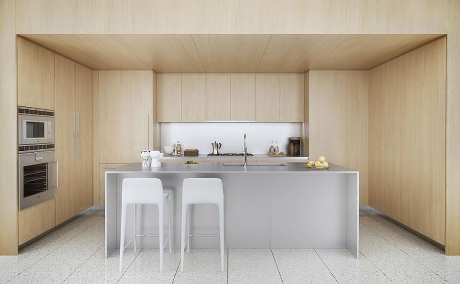 Modello di cucina bianca e legno moderna n.01