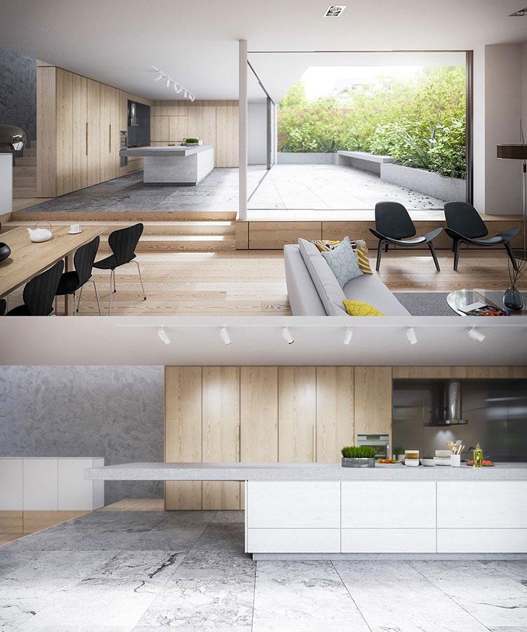 Modello di cucina bianca e legno moderna n.02