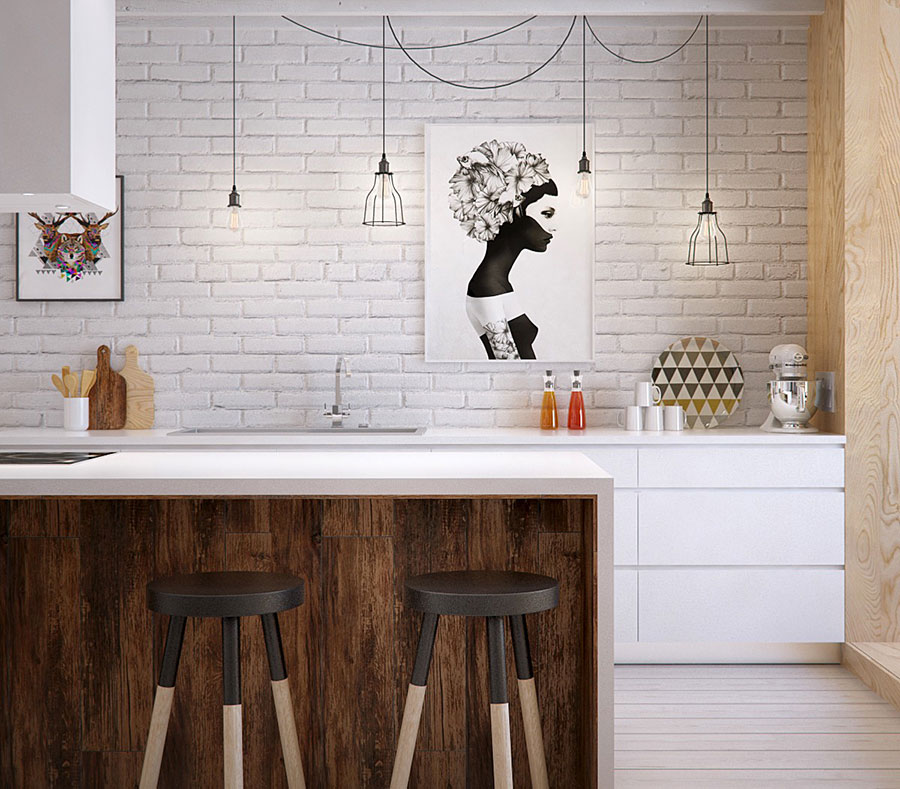 Modello di cucina bianca e legno moderna n.03