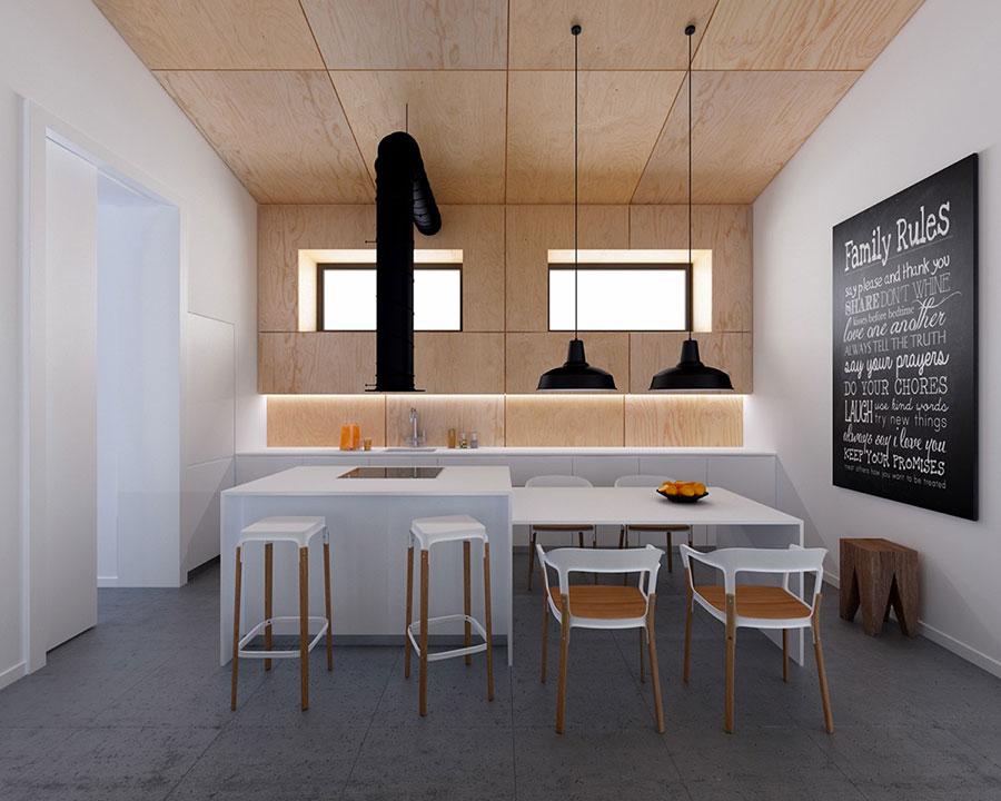 Modello di cucina bianca e legno moderna n.04