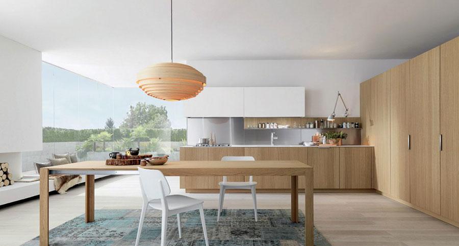 Modello di cucina bianca e legno moderna n.05