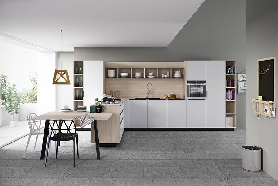 Modello di cucina bianca e legno moderna n.06