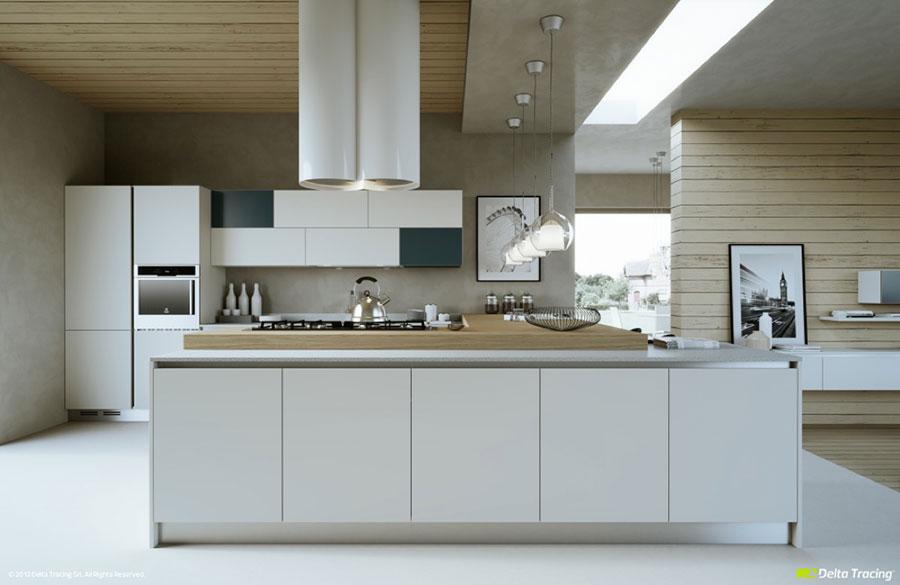 Modello di cucina bianca e legno moderna n.07