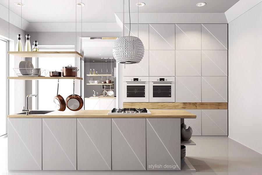 Modello di cucina bianca e legno moderna n.08