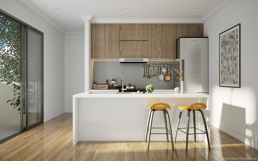 Modello di cucina bianca e legno moderna n.09