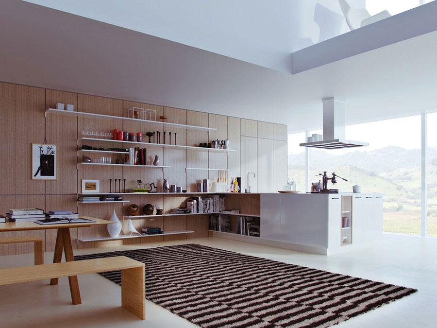 Modello di cucina bianca e legno moderna n.10