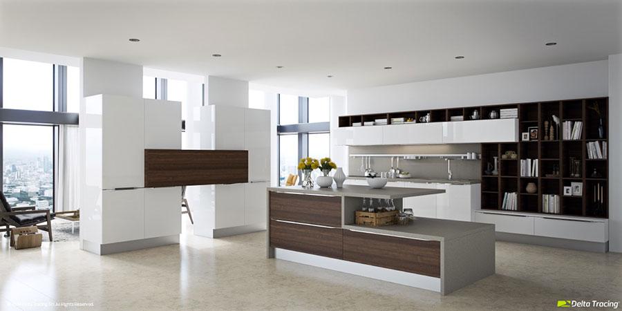 Modello di cucina bianca e legno moderna n.13