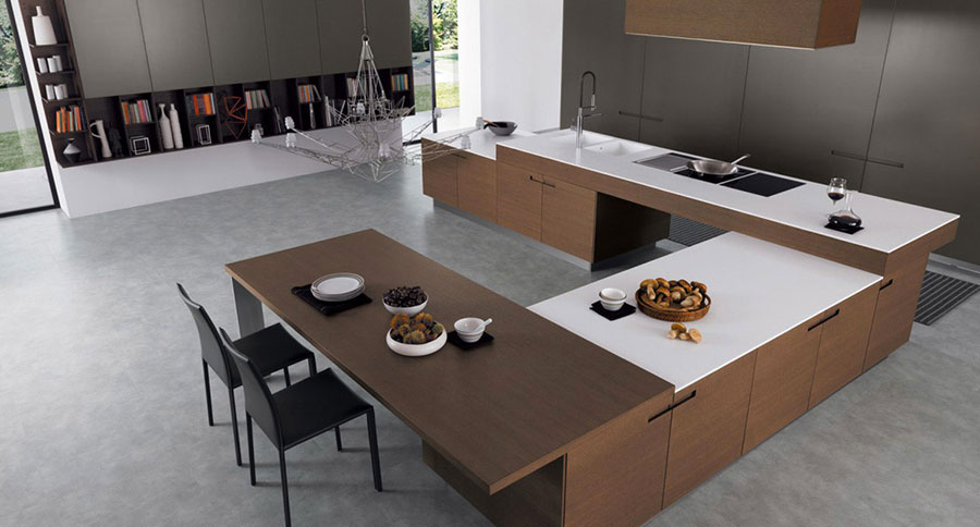 Modello di cucina bianca e legno moderna n.14