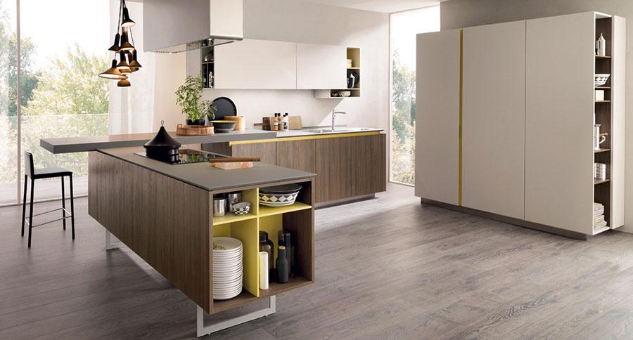 Modello di cucina bianca e legno moderna n.15
