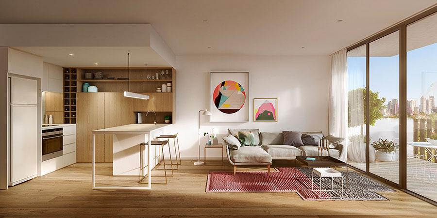 Modello di cucina bianca e legno moderna n.16